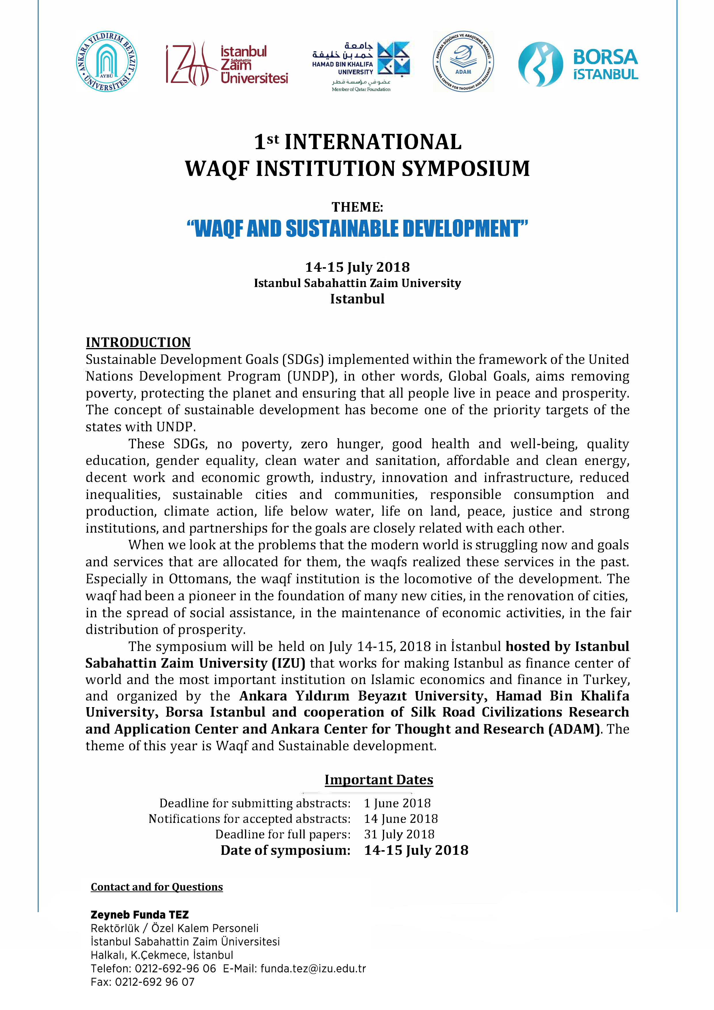 1st Internataional Waqf Institution Symposıum-ENG-Poster